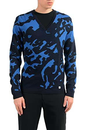 Amazoncom Versace Collection Mens Wool V Neck Multi Color Sweater