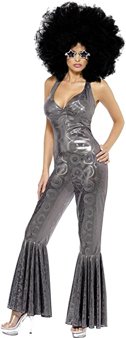 Hippie Costumes, Hippie Outfits Smiffys Womens Disco Diva Flared Jumpsuit Costume $75.60 AT vintagedancer.com