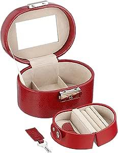 WOLF 281404 Heritage Travel Mini Oval Jewelry Box, Red