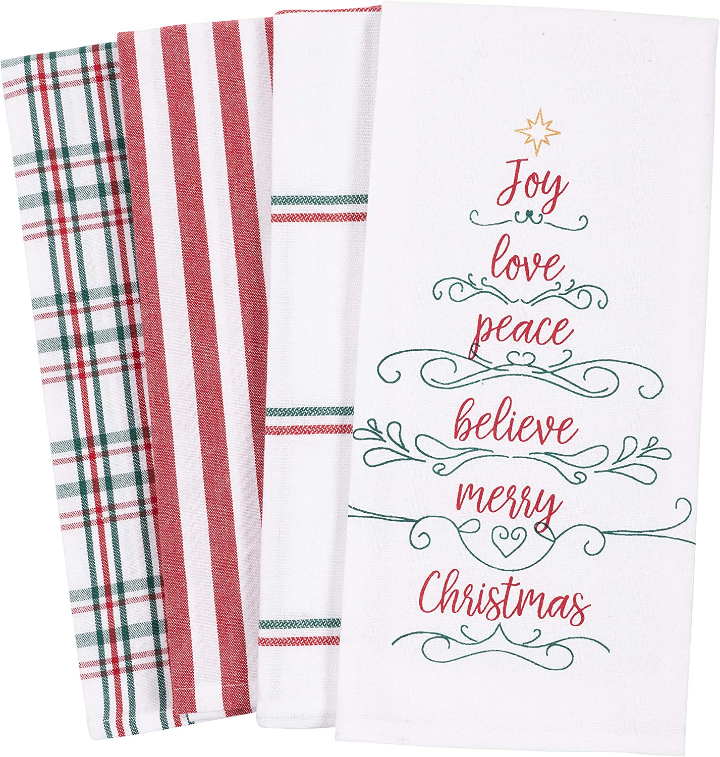 KAF Home Pantry Kitchen Holiday Dish Towel Set of 4, 100-Percent Cotton, 18 x 28-inch (Joy Love Peace Believe Merry Christmas Tree): Home & Kitchen