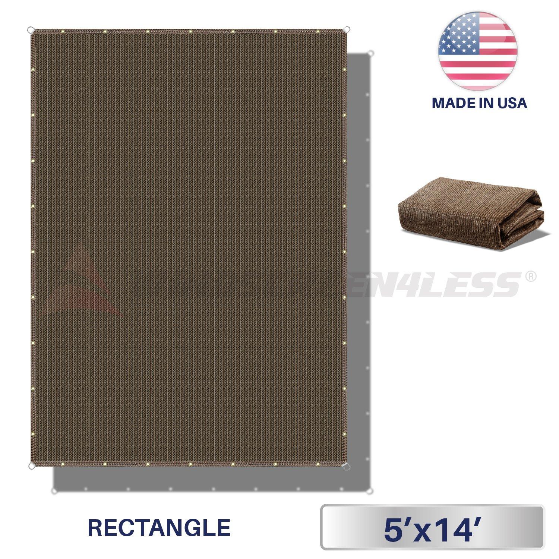 Windscreen4less Straight Edge Sun Shade Sail,Rectangle Heavy Duty 240GSM Outdoor Shade Cloth Pergola Cover UV Block Fabric – Custom Size Brown 5 X 14