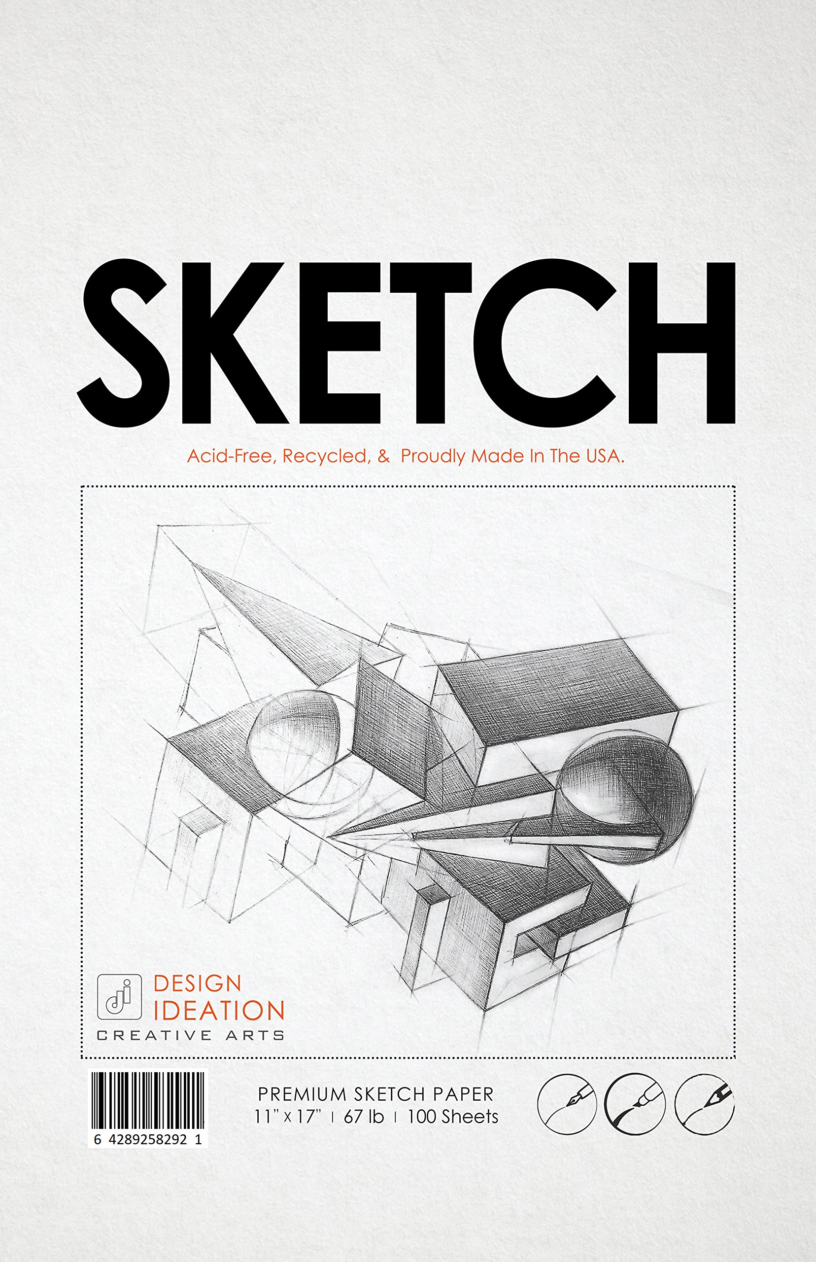 Premium Sketch Paper for Pencil, Ink, Marker, Charcoal and Watercolor Paints. Great for Art, Design and Education. Loose Pack. (100 Sheets(11'' x 17'')) by Design Ideation