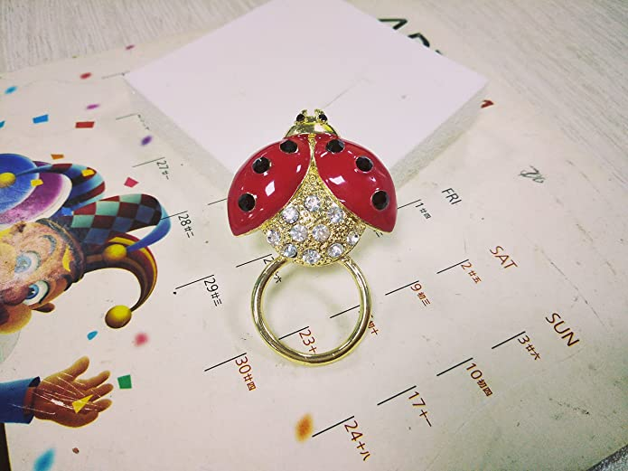 RUXIANG Red Enamel Crystal Insect Ladybug Magnetic Eyeglass Holder Pin Brooches Clothes Jewelry