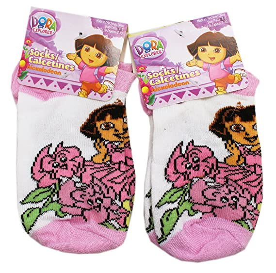 Dora the Explorer Talking and Walking Flowers Kids Socks (2 Pairs, Size 4-