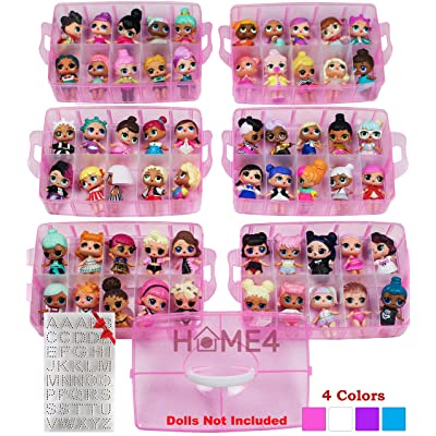 HOME4 BPA Free Pink Glitter 60 Adjustable Compartments 6 Layers Stackable Storage Container Organizer Carrying Display Case, Compatible with Small Toys LOL, Shopkins (Dolls Not Included): Home & Kitchen