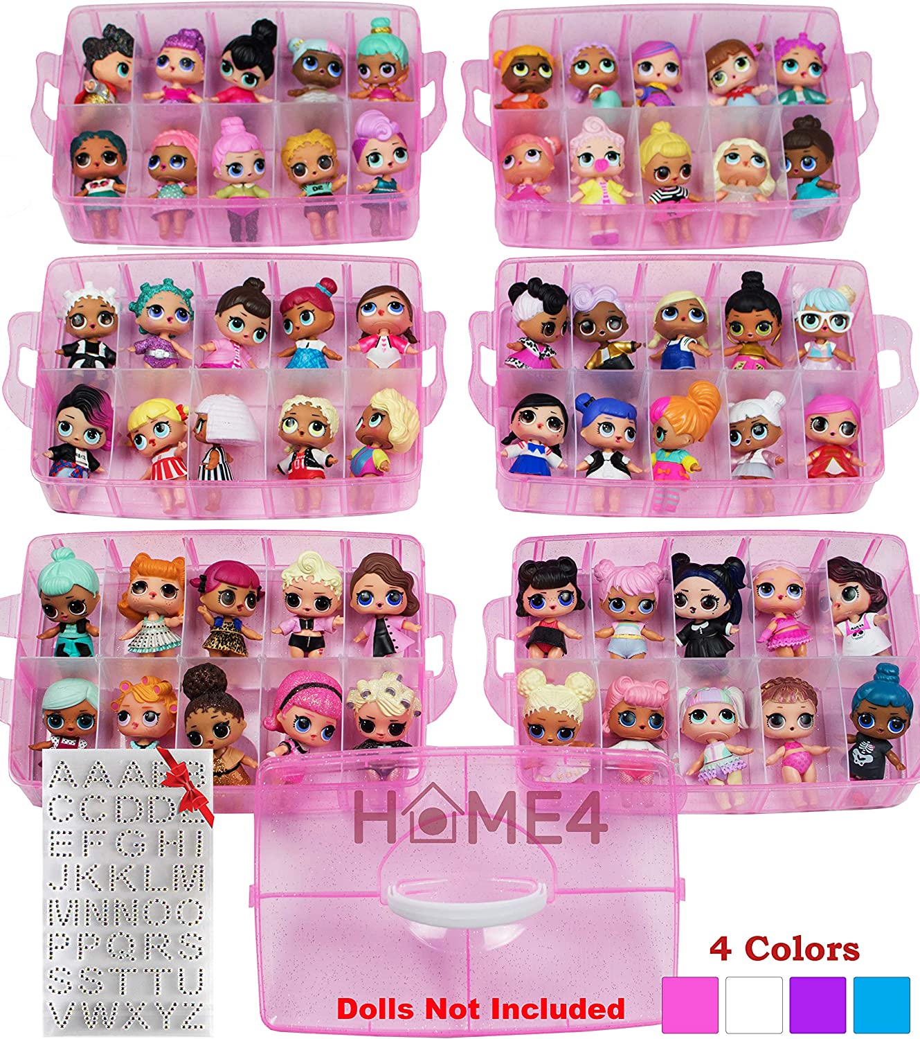 HOME4 LOL BPA Free Stackable Storage Container, Organizer Carrying Display Case, 6 Layers 60 Adjustable Compartments, Perfect for Small Toys, Dolls Not Included, Bonus Sticker (Pink Glitter Large)