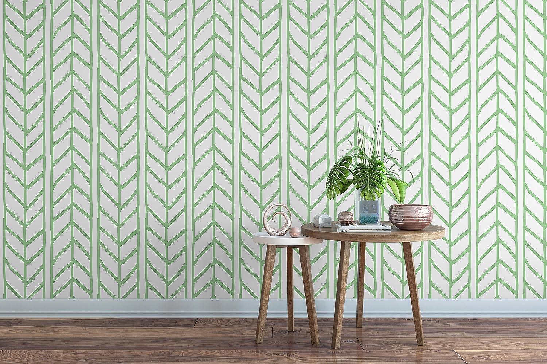 Amazon Com Self Adhesive Herringbone Removable Vinyl Wallpaper With Green Weaving Braids Chevron Illustration Peel And Stick Application Handmade