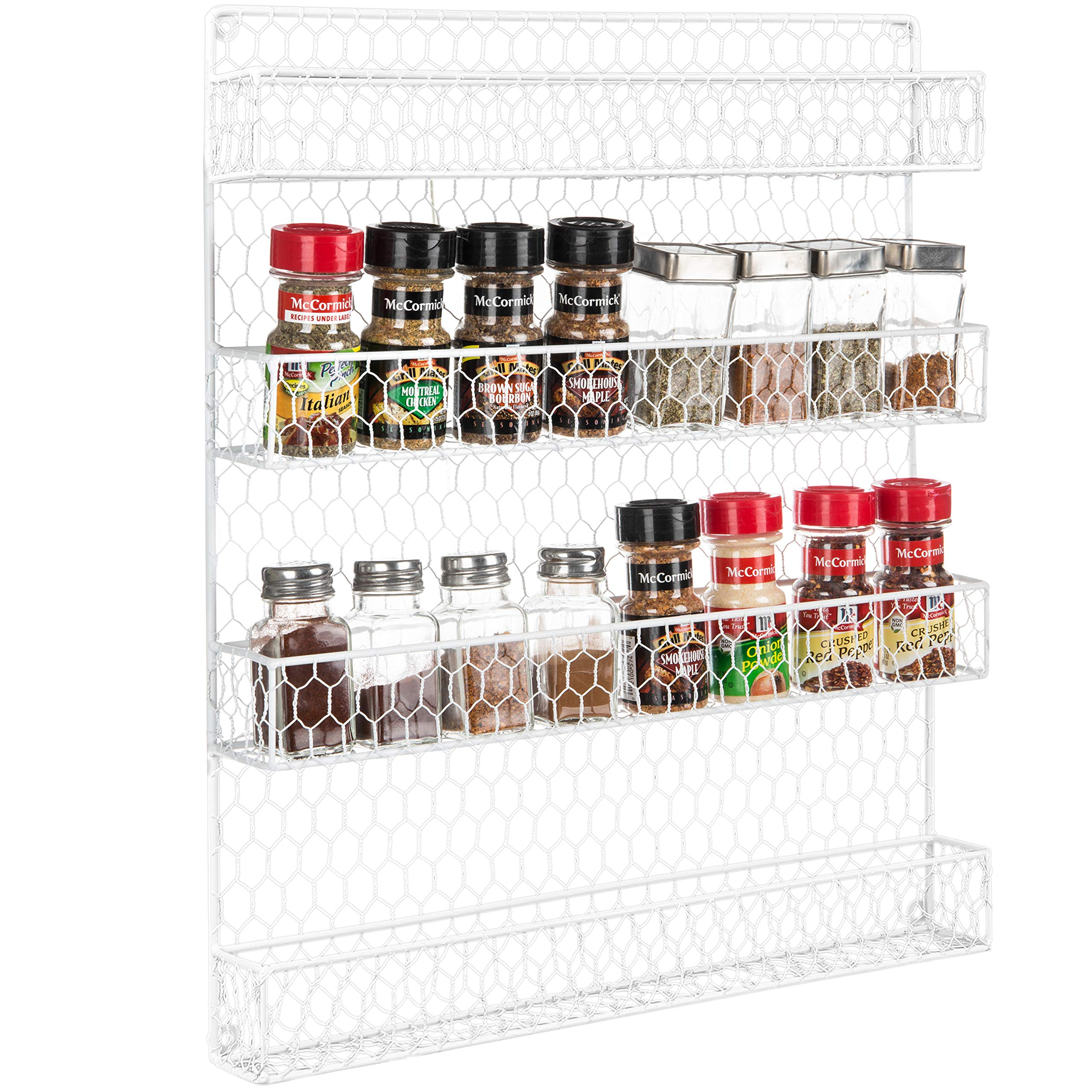 4 Tier White Country Rustic Chicken Wire Pantry, Cabinet or Wall Mounted Spice Rack Storage Organizer by MyGift