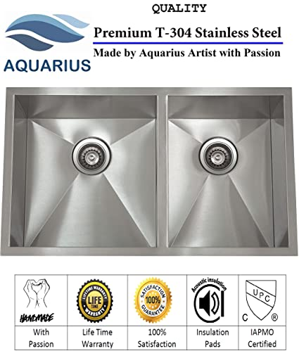 On Sale Aquarius 0 Radius Double Bowl Hand Made Undermount Stainless