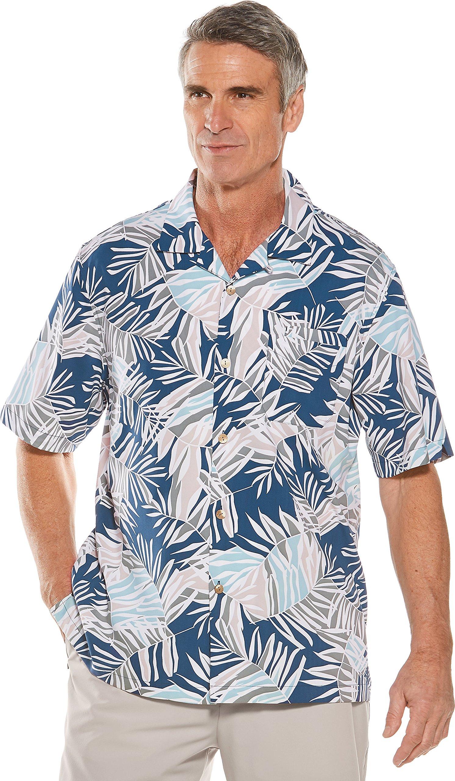 Coolibar UPF 50+ Men's Safari Camp Shirt - Sun Protective (Medium- Marine Navy Modern Palm)