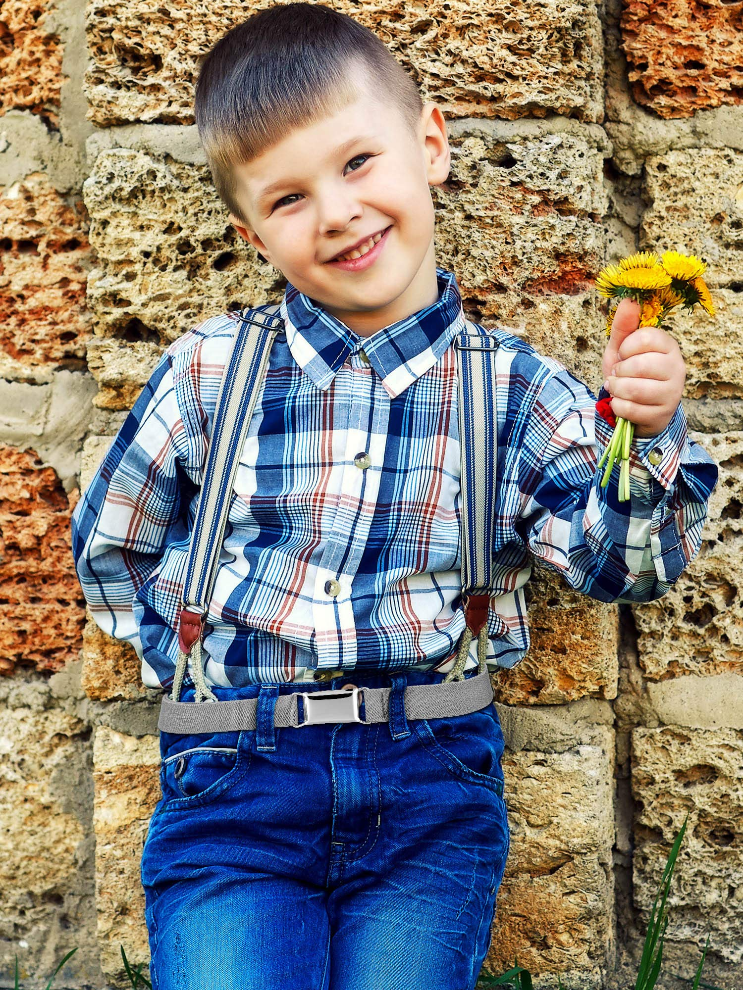 Tatuo 4 Pieces Kids Buckle Belt Kid Adjustable Elastic Belt Boy Stretch Belt for Children Favor (black, gray, brown, navy blue) by Tatuo (Image #7)