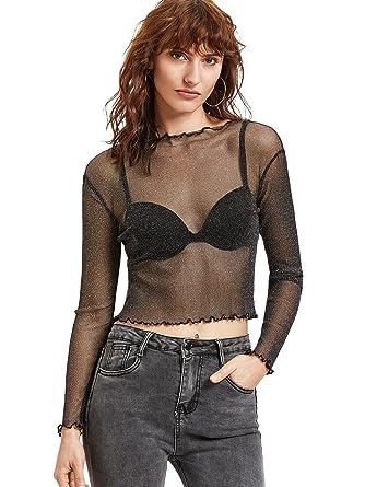 00a31464c1e MAKEMECHIC Women's Long Sleeve Sheer Mesh Blouse See Through Lace Sexy Crop  Top Black-1