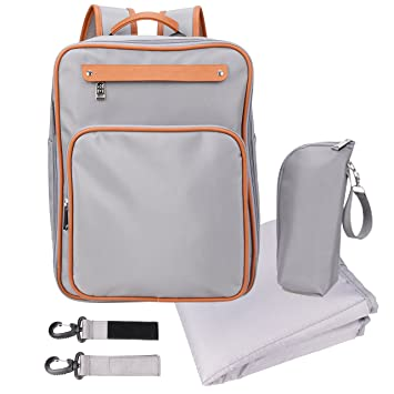 838282e41442 Amazon.com   Baby Diaper Bag Backpack with Changing Mat Insulated Sleeve  Stroller Strap medium for men Grey   Baby