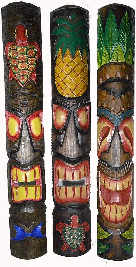 Set of 5 40 Polynesian Hawaiian Tiki Bar Style Wall Masks Island Art