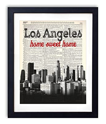 Los Angeles Home Sweet Home Vintage Upcycled Dictionary Art Print 8x10