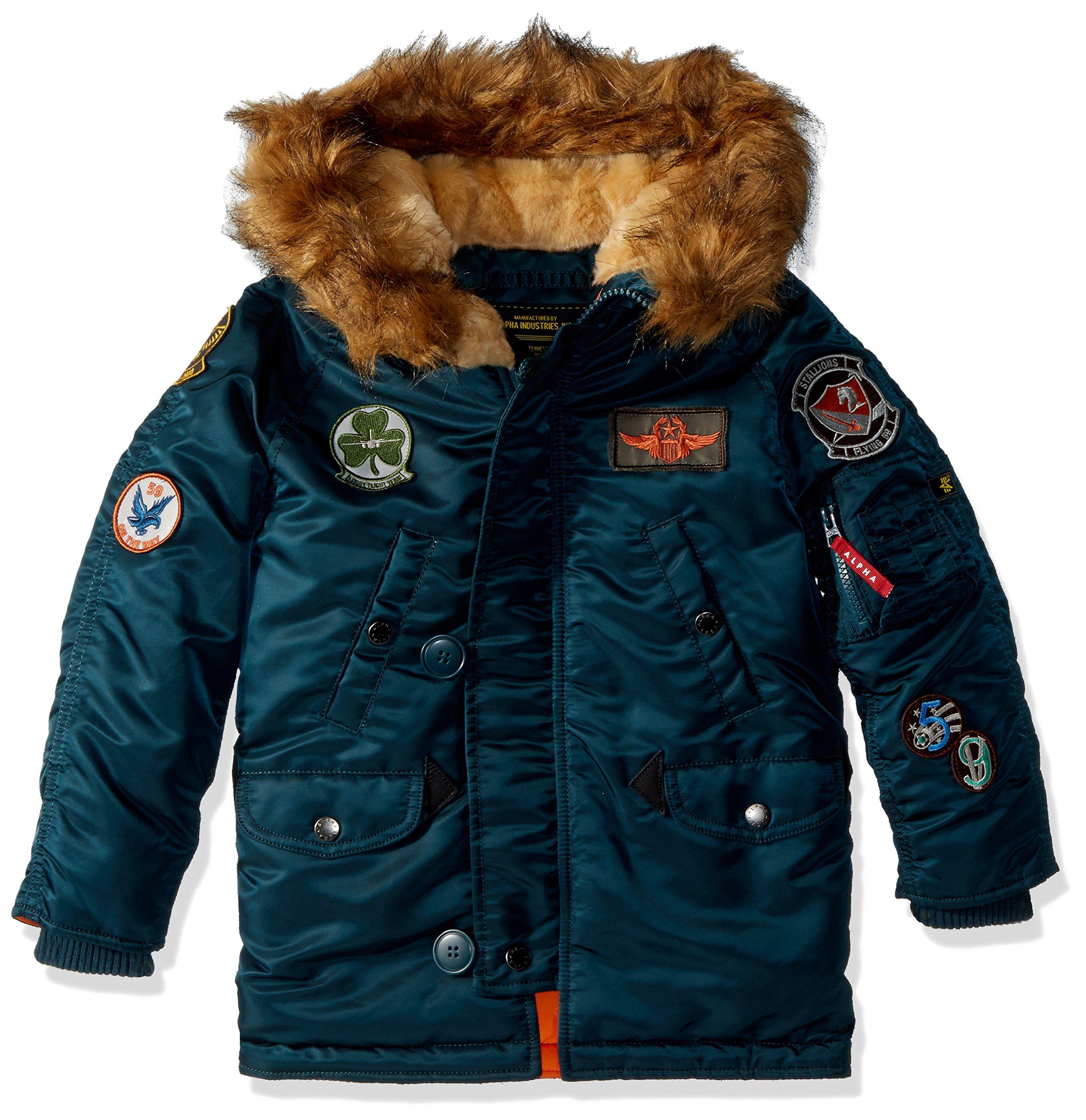 Alpha Industries Big Boys' Maverick Flight Jacket, Navy, Small/8