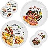 Set di 6 piatti da pizza Napoli & Margherita grande - 30,5 cm, in porcellana con bella immagine - per Pizza/Pasta, per mangiare o servire a tavola