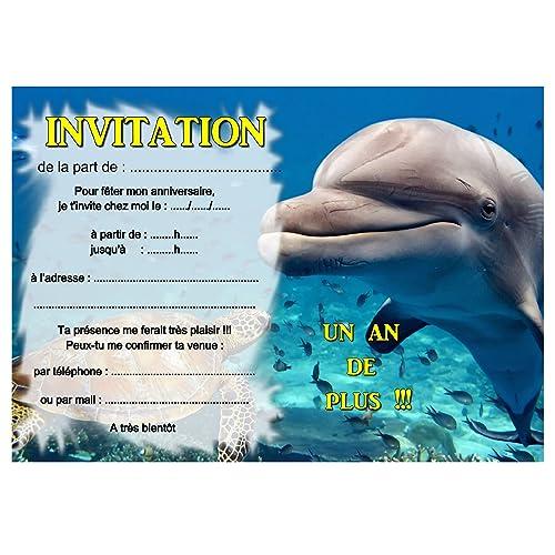 Carte Anniversaire Dauphin.Cartes Invitation Anniversaire Dauphin Par 12 Avec Enveloppes Ref