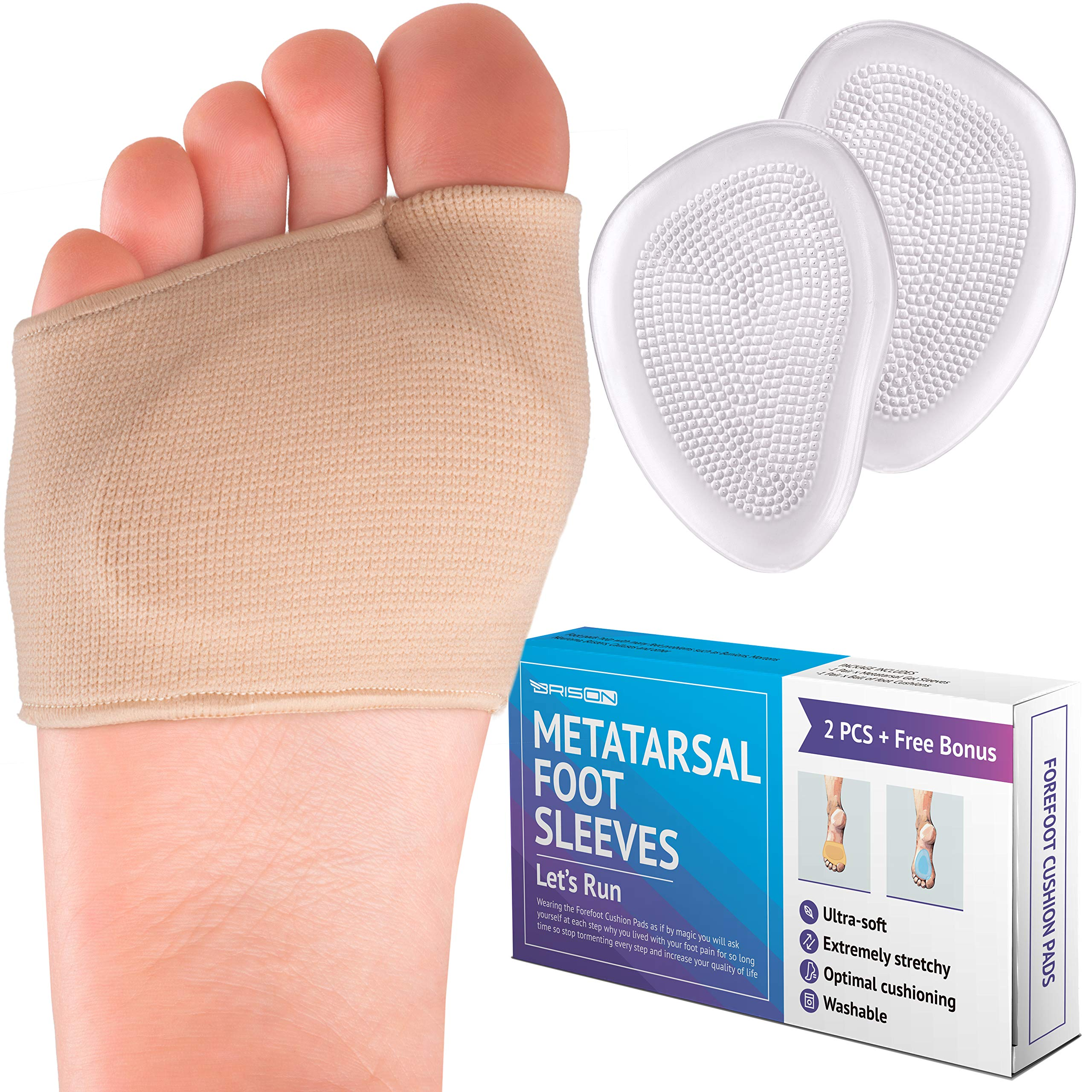 Metatarsal Pads - Gel Sleeves Forefoot Cushion Pads - Fabric Soft Foot Care Ball of Foot Cushions for Bunion Forefoot Mortons Neuroma Blisters Callus Supports Metatarsalgia Pain Relief - Men Women by BRISON