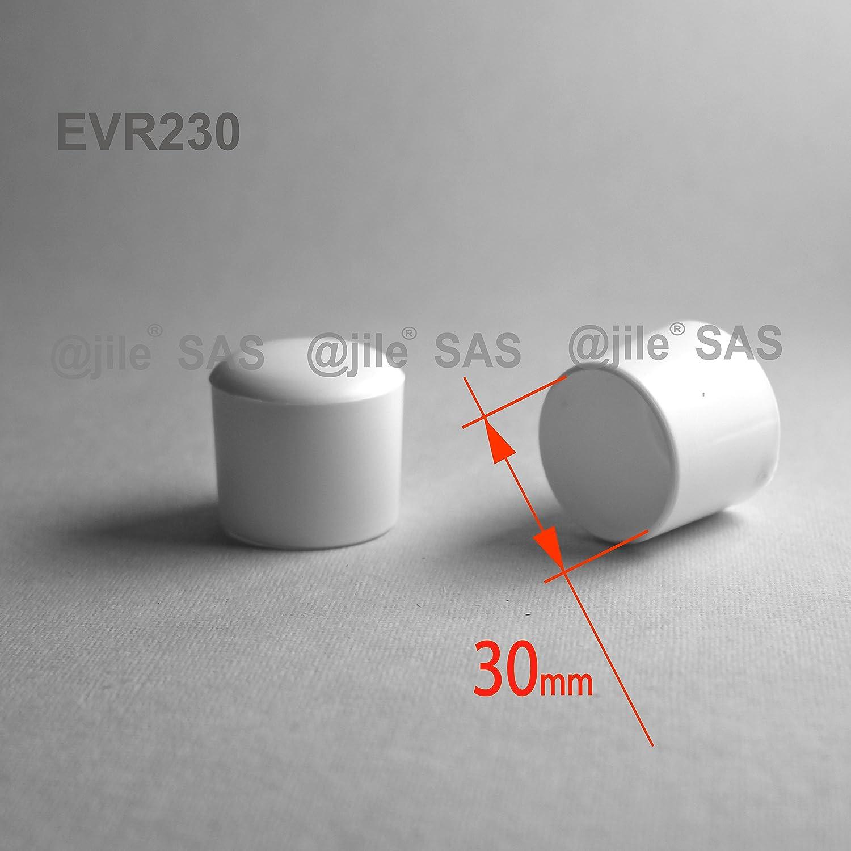 ajile - 4 piezas - Contera plá stica redonda D: 30 mm - BLANCA - protector de suelo para patas de sillas - EVR230-M