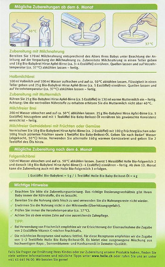Holle - 2144D - Papilla Mijo Manzana y Pera Sin Gluten Holle 250 gr 6m+: Amazon.es: Bebé