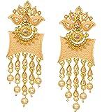 Bindhani Bollywood Style Meenakari Chandbali Gold Plated Pearl Drop Indian Kundan Earrings For Women