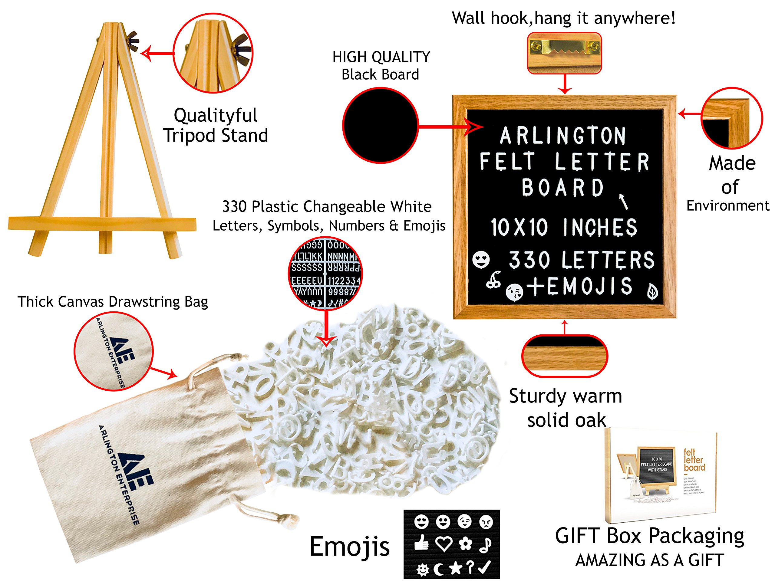 Felt Letter Board with 295 White Detachable Letters + 35 Emojis Framed in a Rustic 10x10 inches Oak Wood. Comes with: Free Oak Tripod Stand, Scissors, and Canvas Bag. by Arlington Enterprise (Image #2)