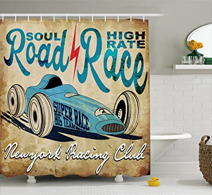 Amazon.com: Cars Shower Curtain by Ambesonne, New York Racing Club ...