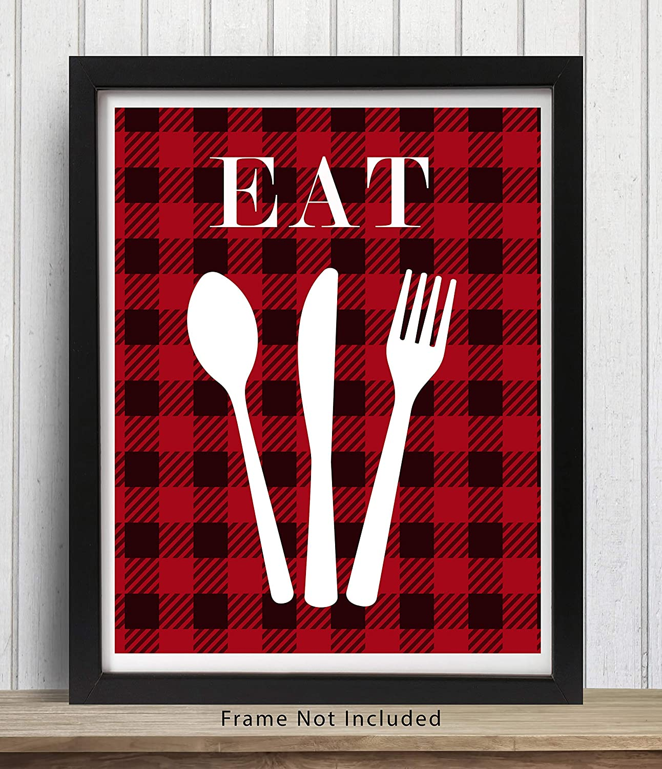 Amazon Com Eat Kitchen Wall Art Sign 11x14 Unframed Black Red White Buffalo Plaid Print Perfect For Rustic Modern Farmhouse Country Decor Handmade