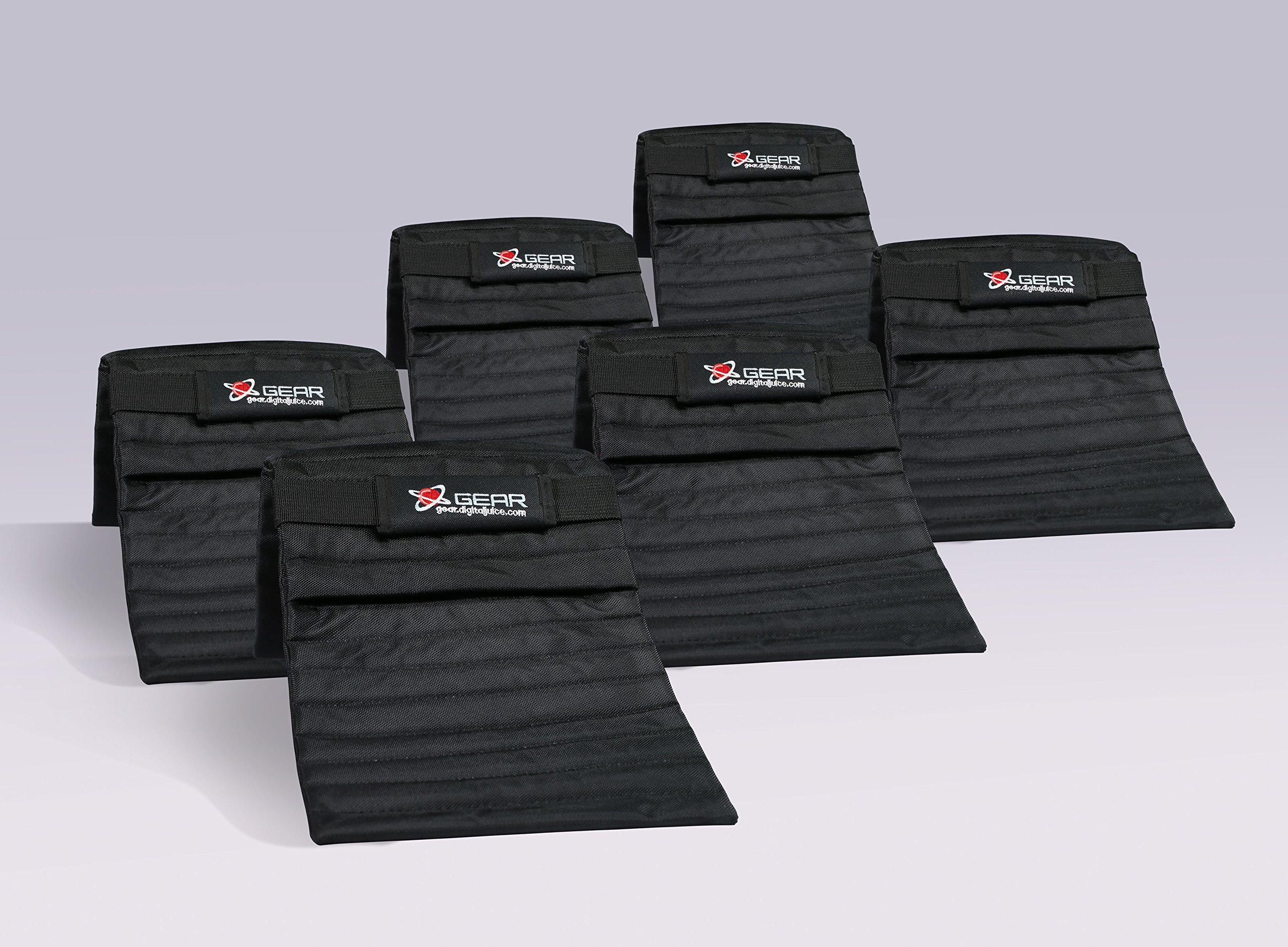 Digital Juice Black Sand Bag for Photography; Affordable Heavy Duty Saddlebag Design, Saddle Sandbags for Photo Studio Video Light Stands, tripods, Lighting Accessories (Black); Without Sand (6 Pack) by Digital Juice