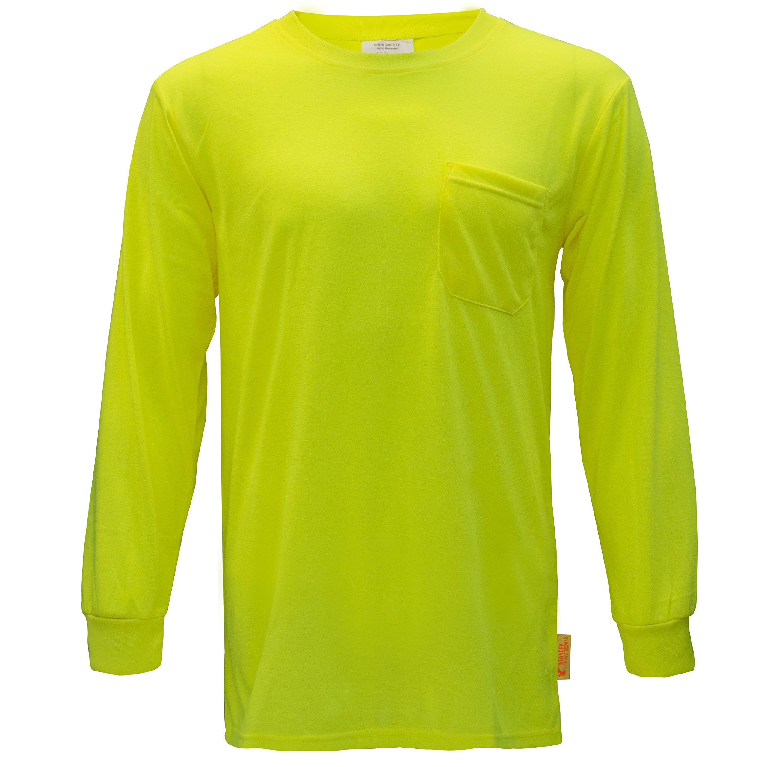 NY Hi-Viz Workwear L2110 Long Sleeve High-Visibility Force Color Enhanced Safety Shirt (Extra Large, Neon Yellow)