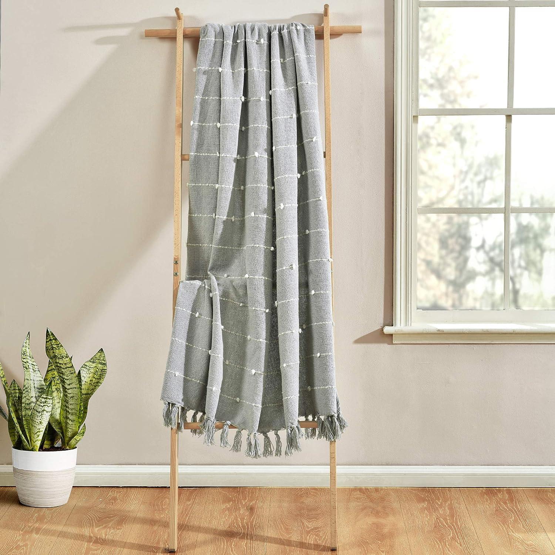 Lush Decor Boho Tufted Cotton Woven Tassel Fringe Throw Blanket, Light Gray