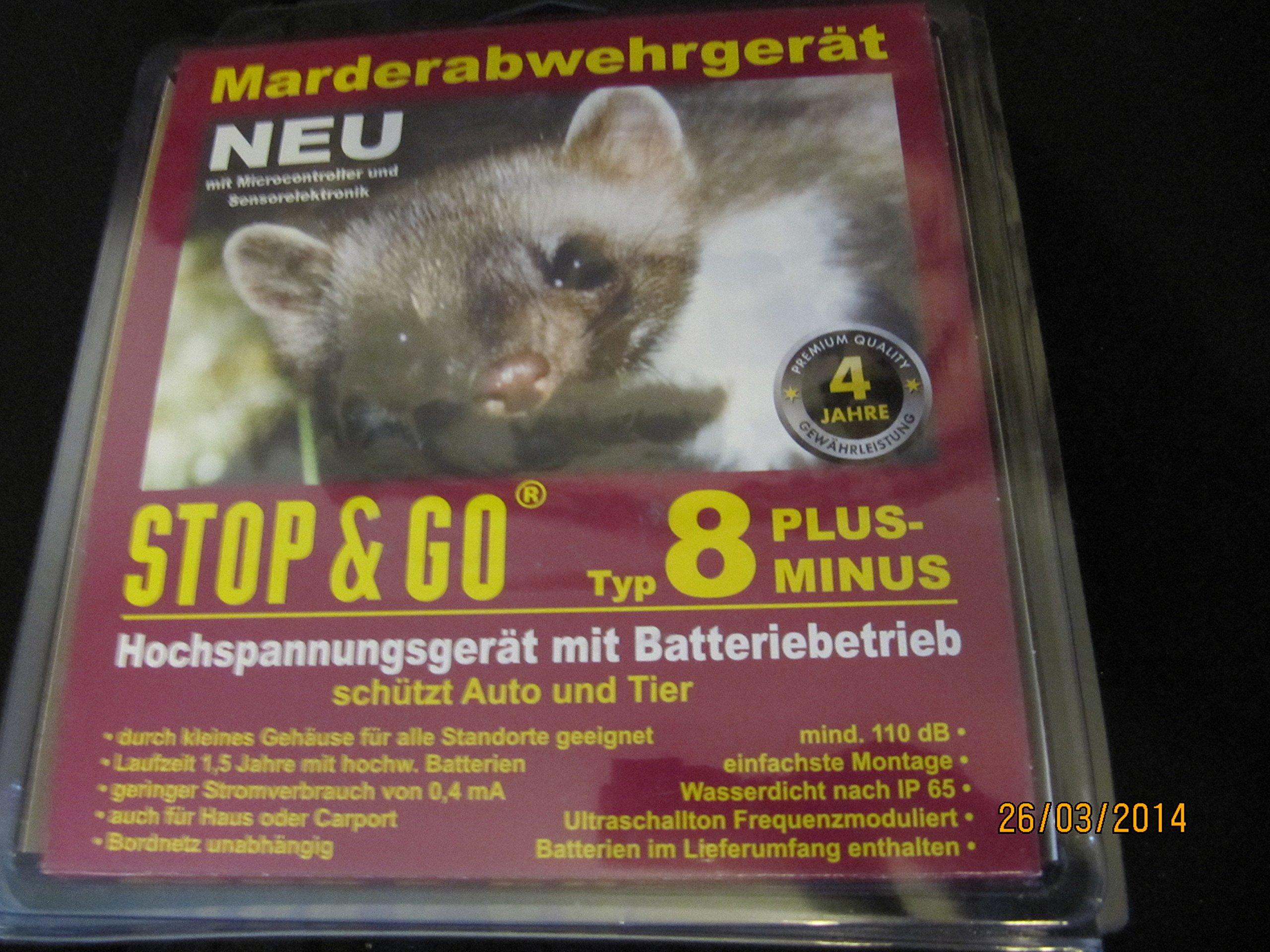 STOP & GO Marderabwehr Typ 8 PLUS-MINUS Hochspannung+Ultraschall+Batterie 07544 product image