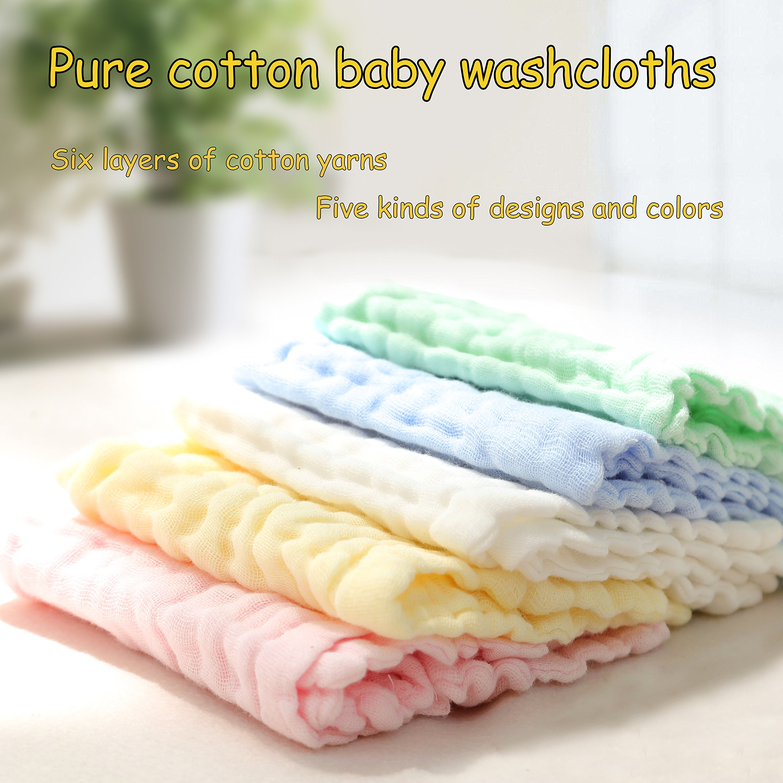 Baby Washcloths - Natural Organic Baby Newborn Face Towel Pure Muslin Cotton Washcloths Absorbent Baby Wipes - Soft Bath Towel for Sensitive Skin Baby Registry as Shower Gift 5 Packs by KRRAMEL