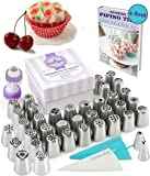 Russian Piping Tips 78 pcs Set - 38 Icing Nozzles + 36 Pastry Bags + Silicone Bag + Cotton Bag + 2 Couplers - Complete Cake and Cupcake Decorating Supplies Kit - Gift Box - eBook with Frosting Recipes