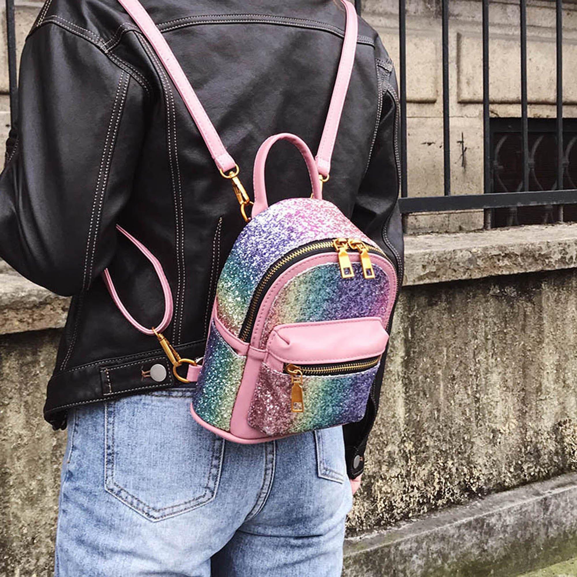 Girls Bling Mini Travel Backpack Kids Children School Bags Satchel Purses Daypack (pink rainbow) by JIANBAO (Image #3)