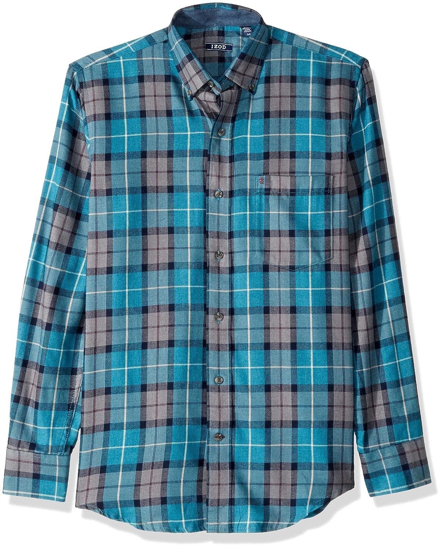 IZOD Mens Stratton Long Sleeve Button Down Plaid Flannel Shirt