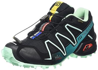 Salomon Womens Speedcross 3 GTX Trail Running Shoes Black BlackLucite Green