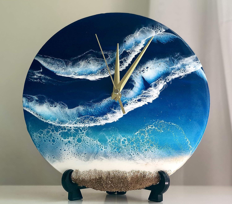 Amazon.com Clock, Gift, Wall Art, Custom, Resin, Resin Art, Ocean ...