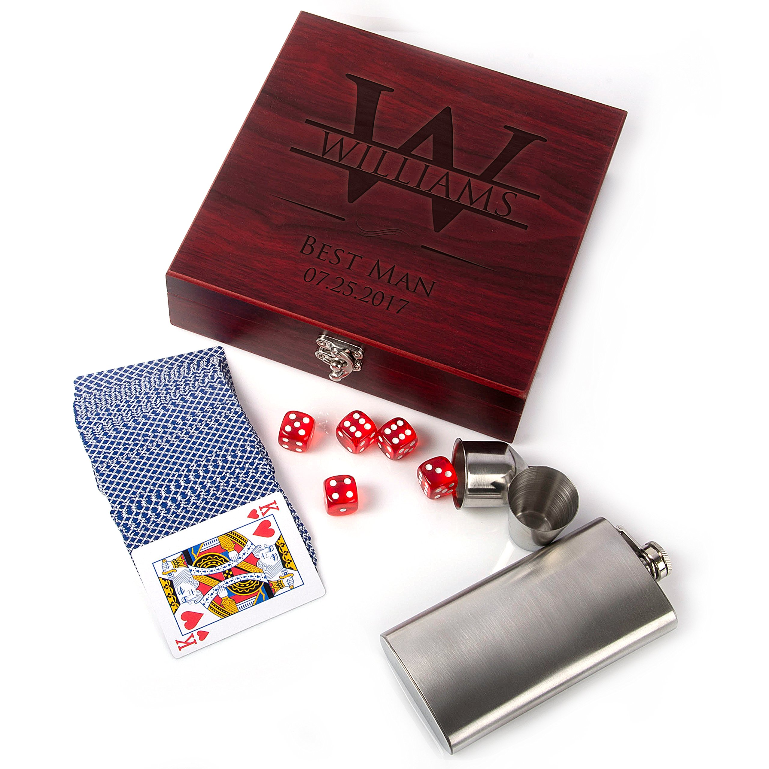 Premium Groomsmen Gifts for Wedding, Personalized Flask Set + Playing Card, Dice | Rosewood Finish Flask Gift Set - Groomsman Gift, Customized Groomsman Flasks,Wedding Favors