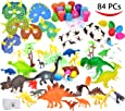 Joyin Toy 84 Pieces Dinosaur World Party Favors Playset including 6 6'' Realistic Dinosaur and More for Easter Egg Stuffers