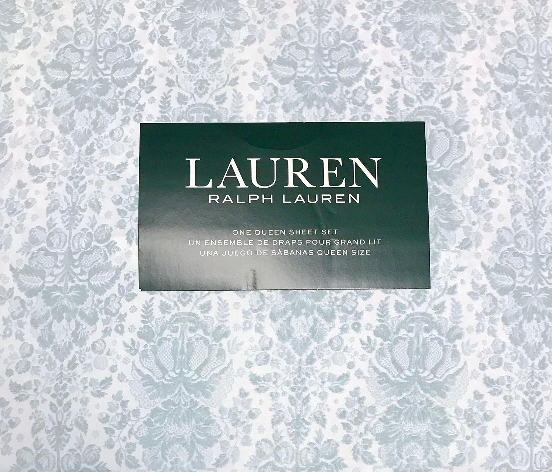 Ralph Lauren 4 Pieceクイーンシートセット – スレートブルーフローラルDamaskパターンwith Leaves onホワイト、100 %コットン B075Q2YM3G