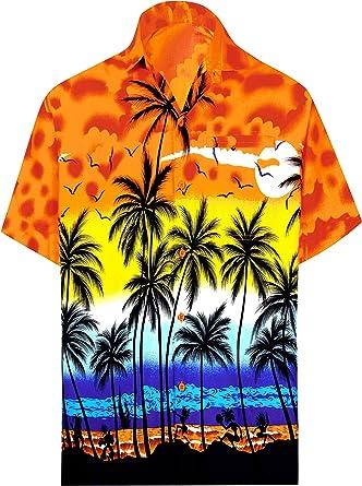 50e16fe75 LA LEELA Hawaiian Shirt Men Beach Casual Button Down Aloha Orange_W138  X-Small