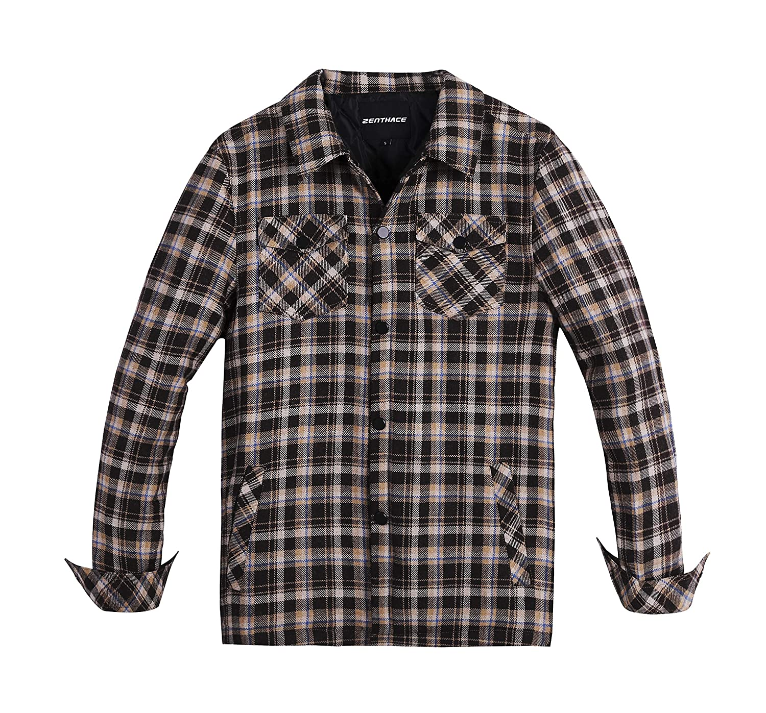 Zenthace Men S Quilted Lined Button Down Plaid Flannel Shirt Jacket