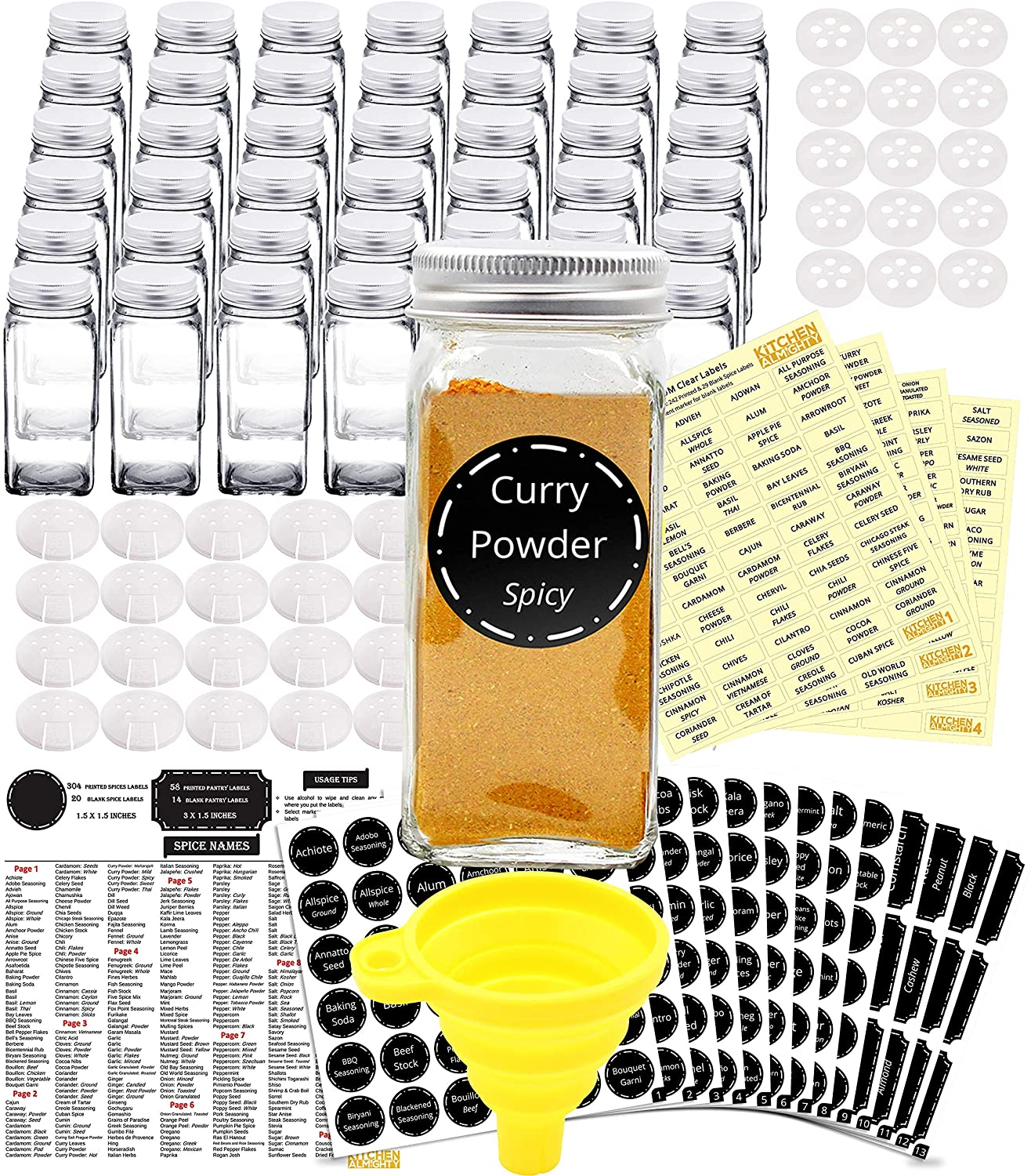 42 Glass Spice Jars Complete Set: 667 Chalkboard & Clear Printed Spice & Pantry Labels - 4 fl Oz Empty Square Bottles w/Pour/Sift & Coarse Shakers & Airtight Cap - Silicone Funnel by KITCHEN ALMIGHTY