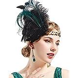 BABEYOND Art Deco 1920s Flapper Headpiece Roaring 20s Great Gatsby Feather Headband 1920s Flapper Gatsby Accessories