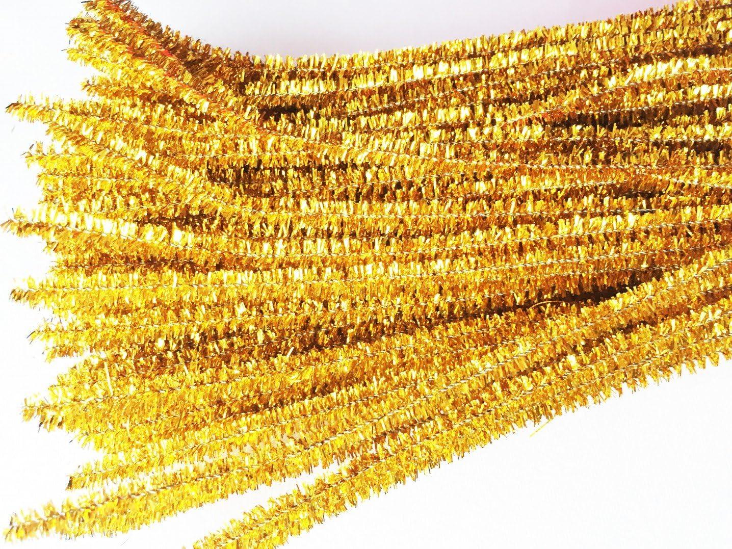 100 St/ück Carykon Pfeifenreiniger 30,5 cm gold glitzernd