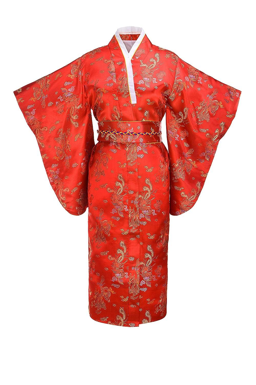 Joy Bridalc Women's Kimono Robe Japanese Traditional Brocade Cosplay Costume Black Dragon Dec16-brocade dragon-black