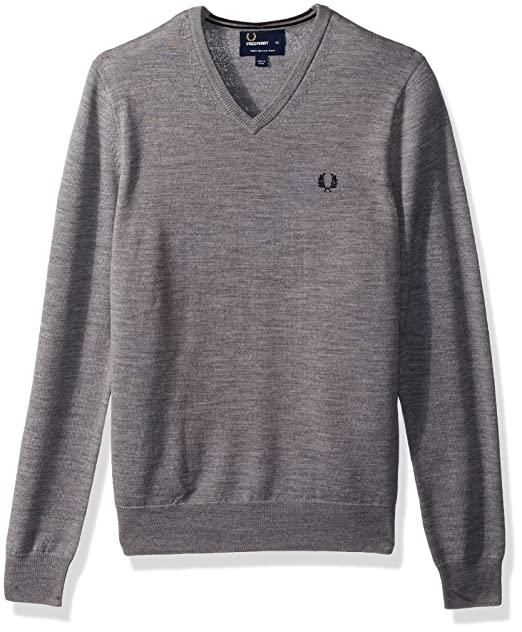 d421323fce2460 Fred Perry FP Classic Tipped V Neck Pullover Sportivo, Grigio (Steel Marl),