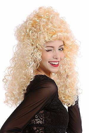 WIG ME UP ® - 90754-ZA02C Peluca mujer Halloween Carnaval rubio barroco rizada melena